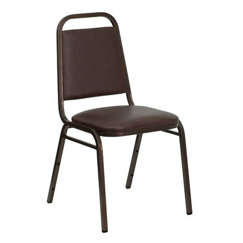 Our HERCULES Series Trapezoidal Back Stacking Banquet Chair in Brown Vinyl - Copper Vein Frame is on sale now.