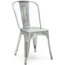 Dreux Vintage Gunmetal Stackable Steel Armless Side Chair - Set of 4