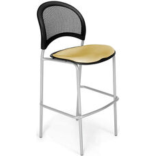 Moon Cafe Height Chair with Fabric Seat and Silver Frame - Golden Flax