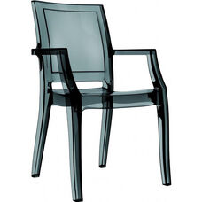 Arthur Polycarbonate Modern Stackable Dining Arm Chair - Transparent Black