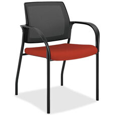 The HON Company Stacking Mesh Back Multipurpose Chair with Crimson Red Seat