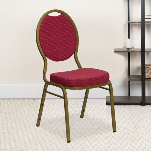 Our HERCULES Series Teardrop Back Stacking Banquet Chair in Burgundy Patterned Fabric - Gold Frame is on sale now.