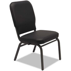 Alera® Oversize Upholstered Stacking Chair - Set of Two - Black Antimicrobial Vinyl