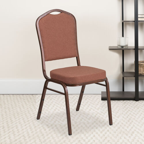 Our HERCULES Series Crown Back Stacking Banquet Chair in Brown Fabric - Copper Vein Frame is on sale now.