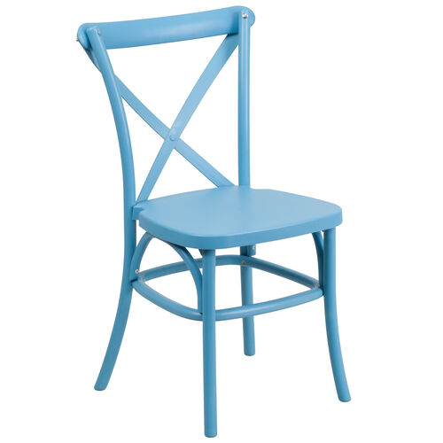 Our HERCULES Series Blue Resin Indoor-Outdoor Cross Back Chair with Steel Inner Leg is on sale now.