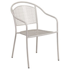 Commercial Grade Light Gray Indoor-Outdoor Steel Patio Arm Chair with Round Back