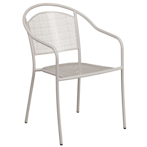 Our Commercial Grade Light Gray Indoor-Outdoor Steel Patio Arm Chair with Round Back is on sale now.