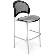 Moon Cafe Height Chair with Fabric Seat and Silver Frame - Putty