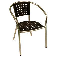 South Beach Hand Polished Tubular Aluminum Stackable Club Chair - Black