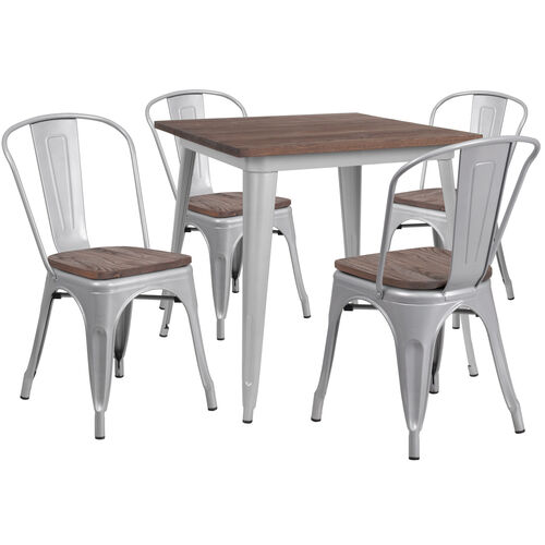 """Our 31.5"""" Square Silver Metal Table Set with Wood Top and 4 Stack Chairs is on sale now."""