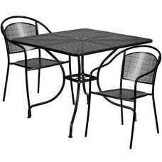 """Commercial Grade 35.5"""" Square Black Indoor-Outdoor Steel Patio Table Set with 2 Round Back Chairs"""