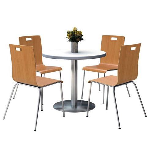 Round Laminate Table Set with Natural Finish Bentwood Cafe Chairs - Seats 4