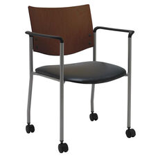1300 Series Stacking Guest Armchair with Chocolate Wood Back and Casters - Vinyl Seat