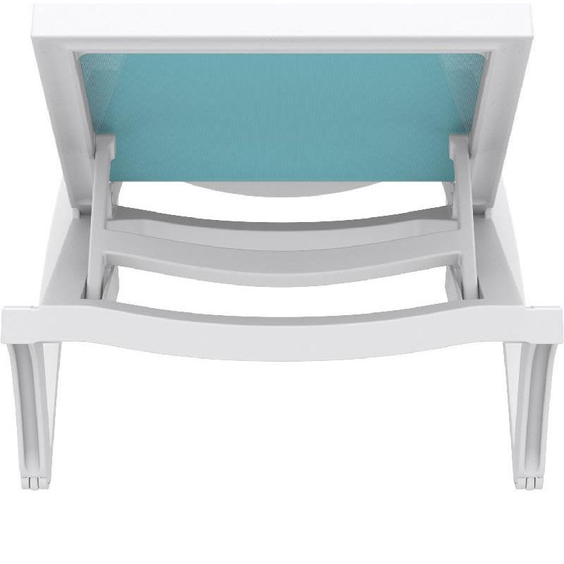 ... Our Pacific Resin Stackable Turquoise Mesh Sling Chaise Lounge With  White Frame Is On Sale Now