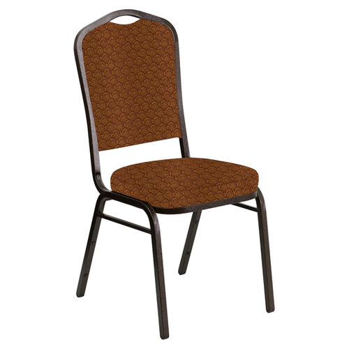 Embroidered Crown Back Banquet Chair in Arches Bronze Fabric - Gold Vein Frame