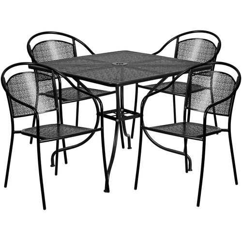 """Our Commercial Grade 35.5"""" Square Black Indoor-Outdoor Steel Patio Table Set with 4 Round Back Chairs is on sale now."""