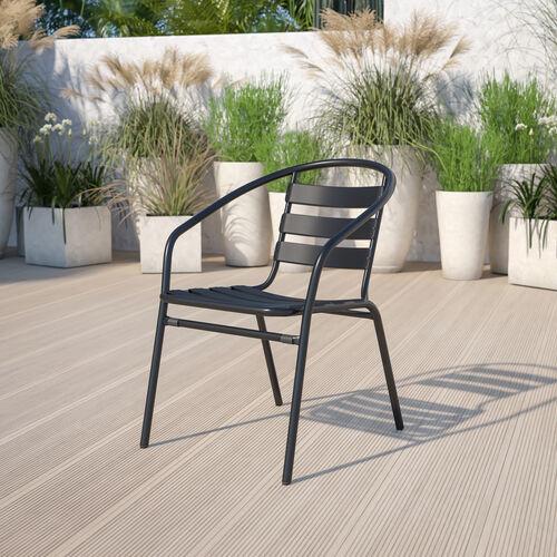 Black Metal Restaurant Stack Chair with Aluminum Slats