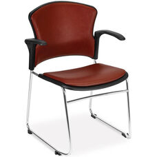 Multi-Use Stack Chair with Anti-Microbial and Anti-Bacterial Vinyl Seat and Back with Arms - Wine