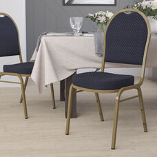 HERCULES Series Dome Back Stacking Banquet Chair in Navy Patterned Fabric - Gold Frame