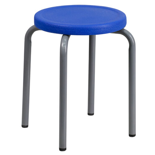 Our Stackable Stool with Blue Seat and Silver Powder Coated Frame is on sale now.