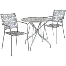 """Agostina Series 31.5"""" Round Antique Silver Indoor-Outdoor Steel Patio Table with 2 Stack Chairs"""