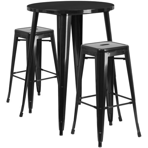 """Our Commercial Grade 30"""" Round Black Metal Indoor-Outdoor Bar Table Set with 2 Square Seat Backless Stools is on sale now."""
