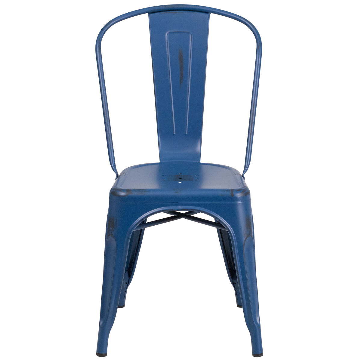 Our Distressed Antique Blue Metal Indoor-Outdoor Stackable Chair is on sale  now. - Distressed Blue Metal Chair ET-3534-AB-GG StackChairs4Less.com