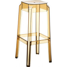 Fox Polycarbonate Stackable Backless Bar Stool - Transparent Amber