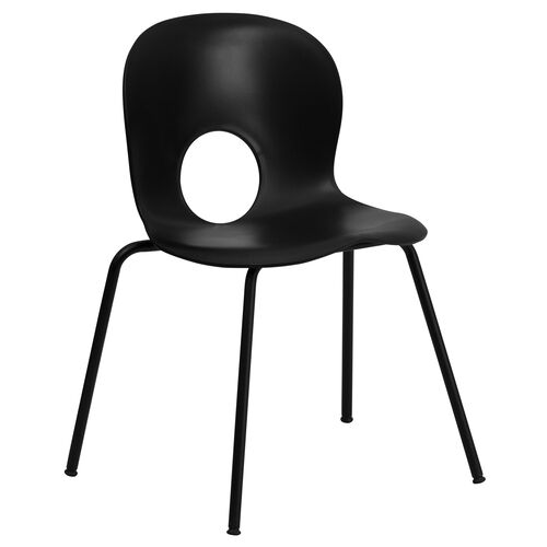 Our HERCULES Series 770 lb. Capacity Designer Black Plastic Stack Chair with Black Frame is on sale now.