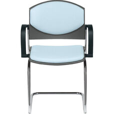 Eddy Sled Base Chrome Stack Side Chair with Upholstered Back and Seat Pads