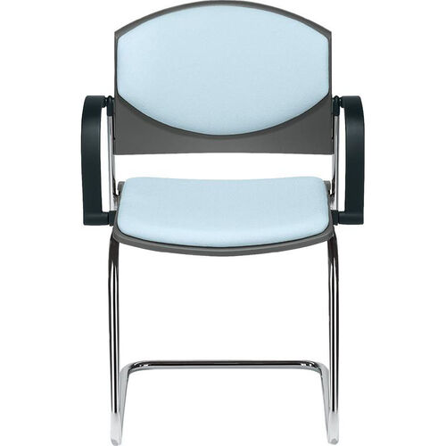 Our Eddy Sled Base Chrome Stack Side Chair with Upholstered Back and Seat Pads is on sale now.