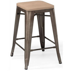 Dreux Rustic Matte Stackable Steel Counter Stool with Light Elm Wood Seat - Set of 4