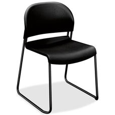 The HON Company Sled Base Armless Stacking Chair with Onyx Polymer Back and Seat - Set of 4