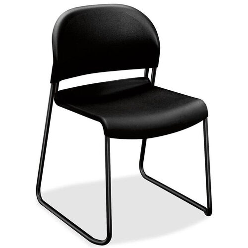 The HON Company Sled Base Armless Stacking Chair with Polymer Back and Seat - Set of 4