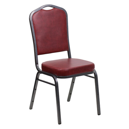 Our HERCULES Series Crown Back Stacking Banquet Chair in Burgundy Vinyl - Silver Vein Frame is on sale now.