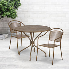"""Commercial Grade 35.25"""" Round Gold Indoor-Outdoor Steel Patio Table Set with 2 Round Back Chairs"""