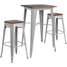 "23.5"" Square Silver Metal Bar Table Set with Wood Top and 2 Backless Stools"