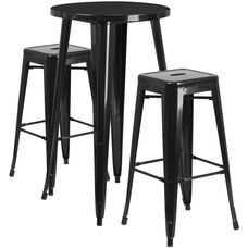"""Commercial Grade 24"""" Round Black Metal Indoor-Outdoor Bar Table Set with 2 Square Seat Backless Stools"""