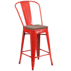 """24"""" High Red Metal Counter Height Stool with Back and Wood Seat"""