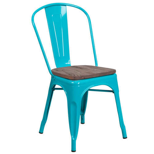 Our Crystal Teal-Blue Metal Stackable Chair with Wood Seat is on sale now.