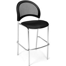 Moon Cafe Height Chair with Fabric Seat and Chrome Frame - Black