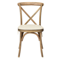 Rustic Sonoma Solid Wood Cross Back Stackable Dining Chair with Burlap X02 Cushion - Tinted Raw