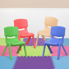 """4 Pack Plastic Stackable School Chairs with 10.5"""" Seat Height, Assorted Colors"""