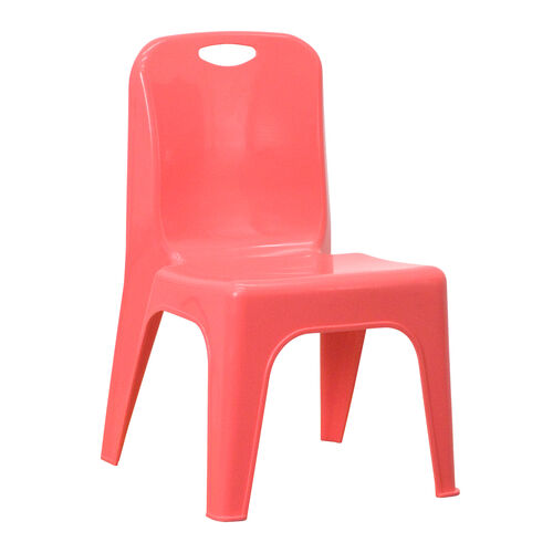 Our Red Plastic Stackable School Chair with Carrying Handle and 11