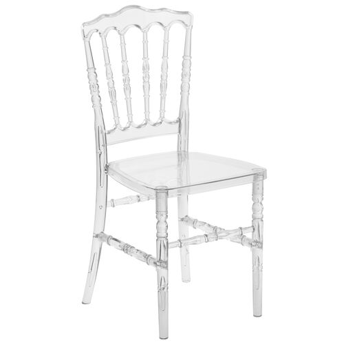 """Our Flash Elegance Crystal Ice Napoleon Stacking Chair with <span style=""""color:#0000CD;"""">Free </span> Cushion is on sale now."""