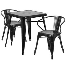 "Commercial Grade 23.75"" Square Black Metal Indoor-Outdoor Table Set with 2 Arm Chairs"