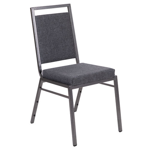 Our HERCULES Series Square Back Stacking Banquet Chair in Dark Gray Fabric with Silvervein Frame is on sale now.