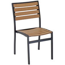 Cedar Key Outdoor Stackable Side Chair with Faux Teak - Black Frame