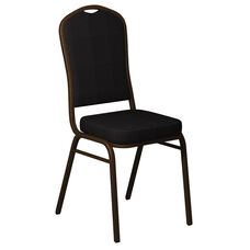 Crown Back Banquet Chair in Biltmore Raven Fabric - Gold Vein Frame