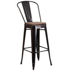 "30"" High Black-Antique Gold Metal Barstool with Back and Wood Seat"